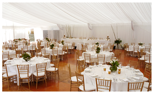 Marquee with optional wooden flooring and silk linings